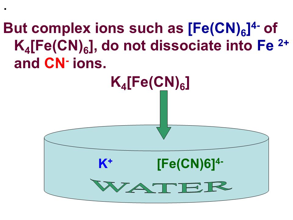 . But complex ions such as [Fe(CN)6]4- of K4[Fe(CN)6], do not dissociate into Fe 2+ and CN- ions. K4[Fe(CN)6]